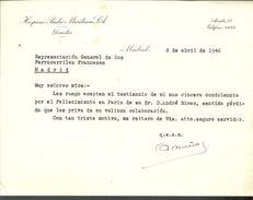 Lettre Du 8 Avril 1946 DU Directeur De Hispano Radio Maritima SA à Madrid - España