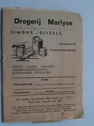 Zegelboekje Drogerij MARLYSE ( Simins-Gijzels ) St. KATELIJNE-WAVER - Anno 19?? Druk. Mercedis Haacht ( Zie Foto's ) ! - Cachets Généralité