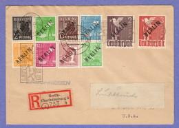"""BER SC #9N1,4,6,8,10,12,14,16,18-19 Reg. Charlottenburg  (10-19-1948) To New York (12-2-1948), Signed """"Grobe"""" - [5] Berlin"""