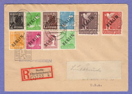 """BER SC #9N1,4,6,8,10,12,14,16,18-19 Reg. Charlottenburg  (10-19-1948) To New York (12-2-1948), Signed """"Grobe"""" - [5] Berlijn"""