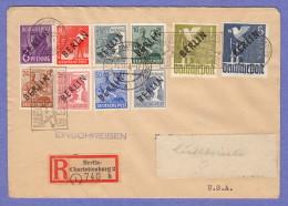 """BER SC #9N2-3,5,7,9,11,13,15,17,20 Reg. Berlin-Charlottenburg  (10-18-1948) To New York (12-2-1948), Signed """"Grobe"""" - Covers"""