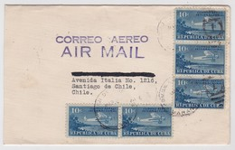 Cuba Air Mail Cover To Chile 1937 Airplane Stamps - Lettres & Documents
