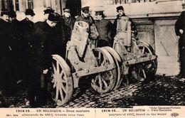 CPA MILITARIA - EN BELGIQUE 1914-15 DEUX MORTIERS ALLEMANDS DE 165 MM TROUVES SOUS L'EAU - Weltkrieg 1914-18