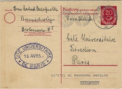 1954- Postkarte Mit Antwortkarte  20 +20 Pf  Ref. Michel  P 22 F From Brauschweig To Paris - Postcards - Used