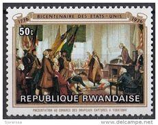 "724 Rwanda 1976 "" - Presentation Of Captured Colors At Yorktown "" - Nuovo MNH Painting American Bicentennial - Rwanda"
