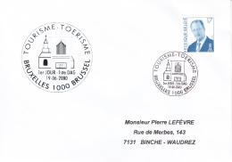 Enveloppe (2000-06-19, Bruxelles 1000 Brussel) - Tourisme, Orgue Et Eglise Stylisés - PL - Poststempels/ Marcofilie