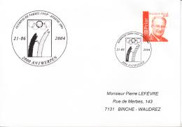 Enveloppe (2004-06-21, 2000 Antwerpen) - Jeux Olympiques Athènes 2004 - PL - Poststempels/ Marcofilie