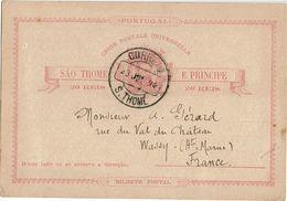 CTN49-11 - SAO THOMAS & PRINCE EP CP  A DESTINATION DE WASSY JUILLET 1894 DOS NON ECRIT - St. Thomas & Prince