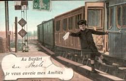 61 AU DEPART DU MESLE JE VOUS ENVOIE MES AMITIES TRAIN ENFANT AGITANT UN MOUCHOIR CIRCULEE 1909 - France