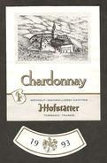 ITALIA - Etichetta Vino CHARDONNEY Doc 1993 Cantina J.HOFSTATTER Bianco Del TRENTINO-ALTO ADIGE - Abazia - Vino Bianco