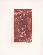 Daniel Vignal - Génuflexion 2 - Bois Gravé - 9 X 14,5 Cm Sur Feuille Canson 24 X 32 Cm - Ex 10 Sur 30 - Engravings
