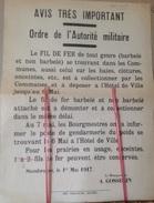 PAD. 110. Stambruges. Affiche. Ordre De L'autorité Militaire Sur La Récupération Du  Fil De Fer Barbelé En 1917 - Documentos