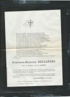 Inhumation à ARQUES  Le 30/07/1883 ( 62040)  Décés De Ambroisine-rextitude Bellanger   - Pb15014 - Avvisi Di Necrologio