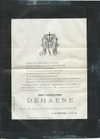 BROXEELE Le  15/11/1887 Décés De  Benoit-françois-cornil Dehaene    - Pb15018 - Avvisi Di Necrologio