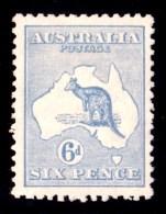 Australia 1921 Kangaroo 6d Ultramarine 3rd Watermark MH - Mint Stamps