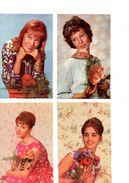 Lot De 4 Cartes De Femmes Posant Avec Des Fleurs, Année 1960, Cartes Superbes Non Voyagées - Donne