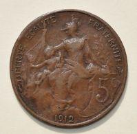 Pièce De Monnaies France - 5 Centimes Daniel Dupuis - 1912 - France