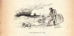 Vers 1890 - Gravure Sur Bois - Étretat (Seine-Maritime) - Pour Recevoir La Lame - FRANCO DE PORT - Estampes & Gravures