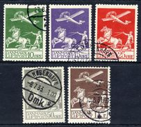 DENMARK 1925-29 Airmail Set Used.  Michel 143-55, 180-81, Facit 213-17. - Used Stamps