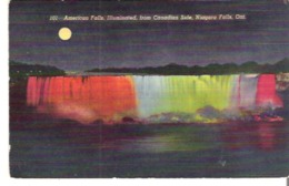 American Falls, Illuminated, From Canadian Side, Niagara Falls, New York, Ontario  Glue On Back Colle En Dos - NY - New York