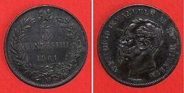 Monnaies Italie - 5 Centesimi 1861 M - Monnaies