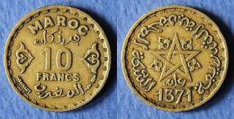 MONNAIE DU MAROC - 10 FRANCS 1371 - Monnaies