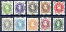 DENMARK 1930 King's 60th Birthday Set MNH / **. Michel 185-94, Facit 246-55 - Unused Stamps
