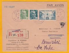 1946 - Lettre Recommandée  Par Avion De Nuit De Paris Aviation à Nice Et Renvoi à Pornichet - Gandon - F. Outremer - Postmark Collection (Covers)