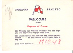 Canadian Pacific Steamships  Welcome To The Empress Of France - Trade Cards