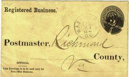 CTN49-12 - ETATS UNIS EP ENVELOPPE CIRCULEE WASHINGTON / RICHMOND SEPTEMBRE 1887 - Entiers Postaux