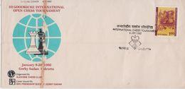India   1992  Chess  International Chess Tournament  SECONDS CONDITION  Calcutta Cover   # 91513 - Chess