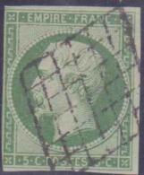 France 1849 - 1900 N° 12 5c Empire Non Dentelé Vert Oblitéré Grille TB état : Obl Cote: 271 € - 1853-1860 Napoléon III