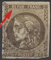 """France 1849 - 1900 N° 47 E 30c Bordeaux Brun """"""""R"""""""" De REPUB Touchant Le Cadre (def) état : Obl Cote: 500 € - 1870 Emission De Bordeaux"""