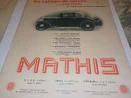 ANCIENNE PUBLICITE VOITURE SUCCES MATHIS 1931 - Cars