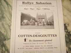 ANCIENNE PUBLICITE VOITURE  COTTIN-DESGOUTTES RALLYE SAHARIEN 1930 - Cars