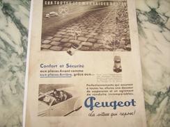 ANCIENNE PUBLICITE VOITURE  PEUGEOT LA VITESSE REPOSE  1937 - Cars