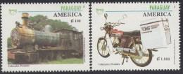 Upaep Paraguay 2668/69 1994 Locomotora De Vapor Motocicleta Train Bicycle MNH - Timbres