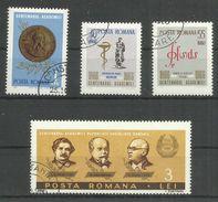 """Rumänien 2540-43 """"4 Briefmarken Zu 100 Jahre Rumänische Akademie Der Wissenschaften """" Gestempelt, Mi.2,00 - 1948-.... Républiques"""