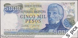 TWN - ARGENTINA 305b2 - 5000 5.000 Pesos 1977-83 Serie B - Signatures: Lopez & Del Solar UNC DEALERS LOT X 5 - Argentina