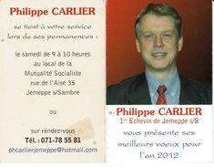 JEMEPPE SUR SAMBRE 2012-VOEUX  ECHEVIN PHILIPPE CARLIER- MUTUALITE SOCIALISTE-calendrier-politique - Calendriers