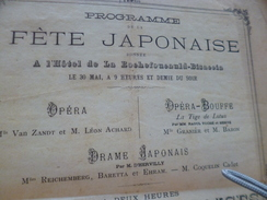 Programme Fête Japonaise 1883/30/05 Hôtel De La Rochefoucauld Bisaccia Pli D'archivage Et Déchirures - Programs