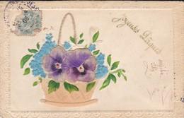 JOYEUSES PAQUES--panier De Fleurs--gauffrée---voir 2 Scans - Easter