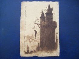 Carte Postale Ancienne Illustrée Par Robida: Tour Et Pendu - Robida