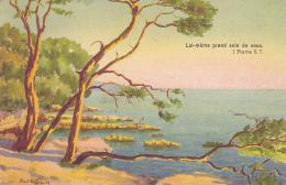 """Carte Illustrée Par Paul Dutschler - Les Pins à Carqueiranne """"psaume (Lui-même Prend Soin De Vous - I Pierre 5. 7.) 1942 - Carqueiranne"""