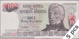 TWN - ARGENTINA 313b - 10 Pesos Argentinos 1983-85 Serie A - Signatures: Lopez & Vazquez UNC DEALERS LOT X 5 - Argentina