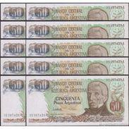 TWN - ARGENTINA 314b - 50 Pesos Argentinos 1983-85 Serie A - Signatures: Lopez & Vazquez UNC DEALERS LOT X 10 - Argentina