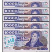 TWN - ARGENTINA 322c - 10/10000 10/10.000 A./P. 1985 Serie C - Signatures: Alonso & Concepcion UNC DEALERS LOT X 5 - Argentina