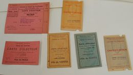 6  ANCIENNES CARTE D ELECTEUR  DE LA VILLE DE NANTES DEPARTEMENT  44   /1945/1947/1957 /1958 - Cartes