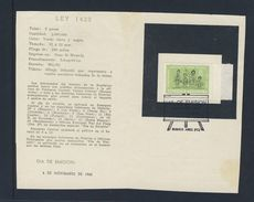 Argentina 1965 Comm. Leaflet / Gedenkblatt + Mi 891 - 81st Ann. Of Law 1420 - Public Education / Gesetzes Volkserziehung - Lettres & Documents