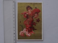 CHROMO Doré AU BON MARCHE: Jeune Fille à L'éventail - Femme-fleur Coquelicot Papillon - Série T. 26 - TESTU & MASSIN - Au Bon Marché